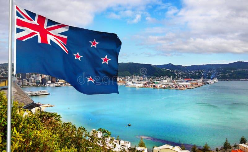 Nueva Zelanda - bandera - Wellington imagenes de archivo