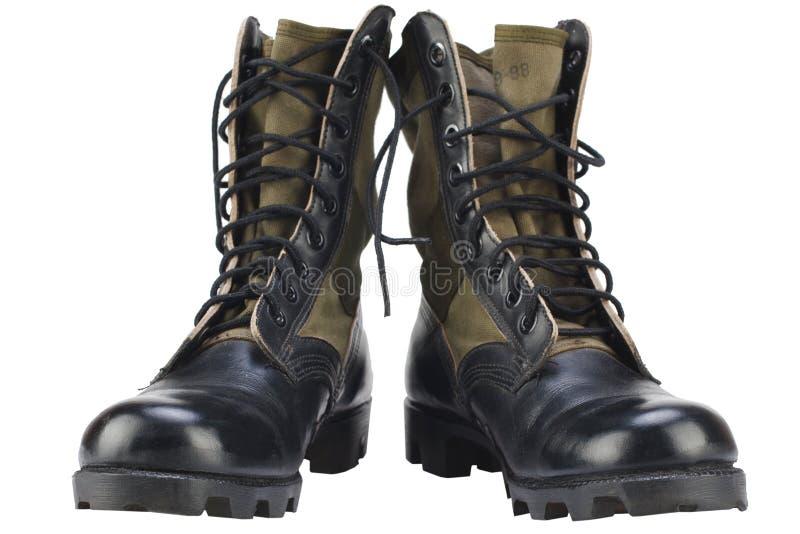 Nuevas botas de la selva del modelo del Ejército de los EE. UU. de la marca aisladas foto de archivo libre de regalías
