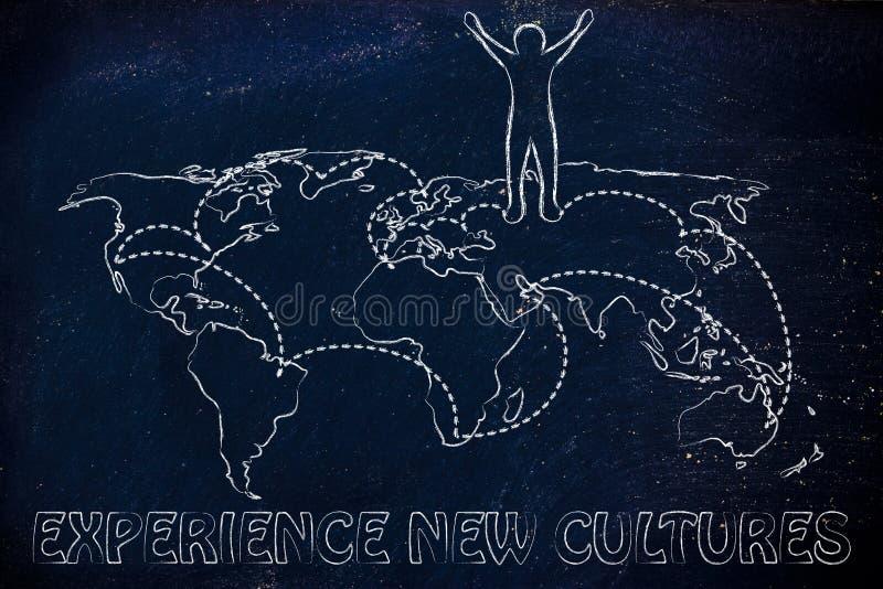 Nuevas culturas de la experiencia: hombre feliz en mapa del mundo con el pla visitado imágenes de archivo libres de regalías