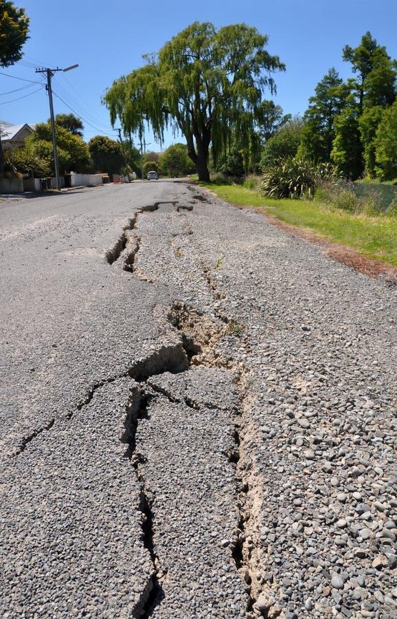 Nuevas grietas en Avonside, terremoto de Christchurch imagenes de archivo