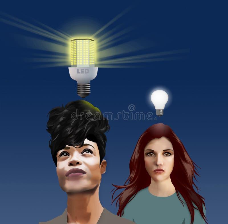 Nuevas ideas--Una bombilla moderna del LED brilla brillantemente sobre la cabeza de la mujer con una idea brillante El nuevo bulb stock de ilustración