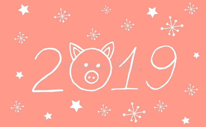 Nuevas letras dibujadas mano de 2019 años con una cabeza del cerdo ilustración del vector