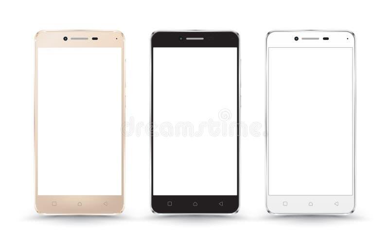 Nuevas maquetas realistas de la colección del smartphone del teléfono móvil ilustración del vector