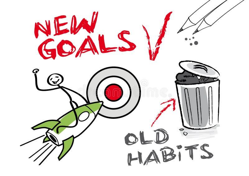 Nuevas metas, viejos hábitos stock de ilustración