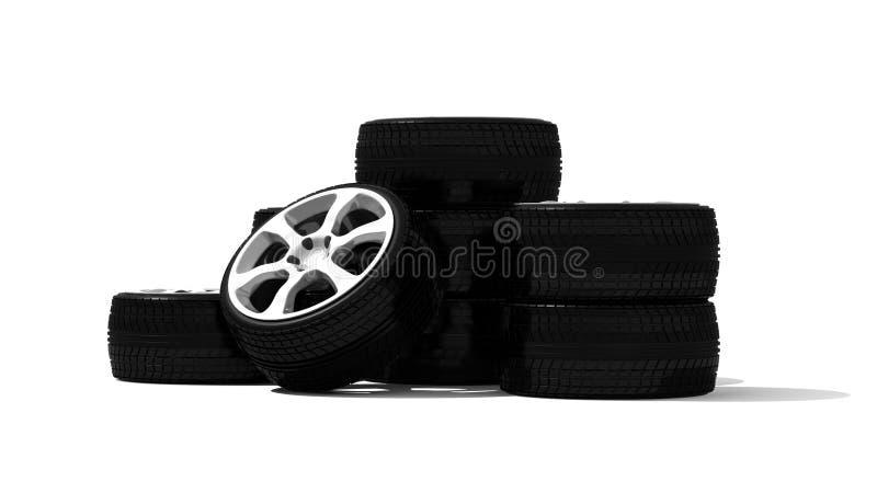 Nuevas ruedas con el borde de acero stock de ilustración
