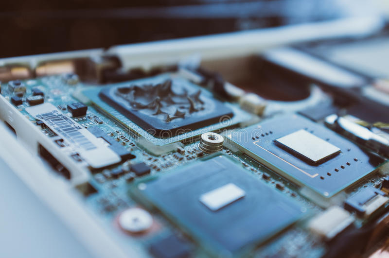 Nuevas tecnologías en la industria del ordenador imagen de archivo