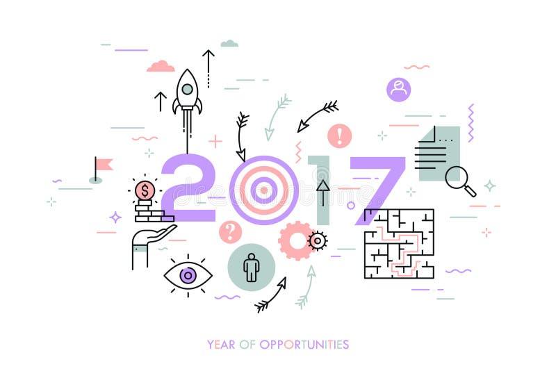Nuevas tendencias, perspectivas y predicciones en los desafíos del negocio, apuntando, solución de problemas libre illustration