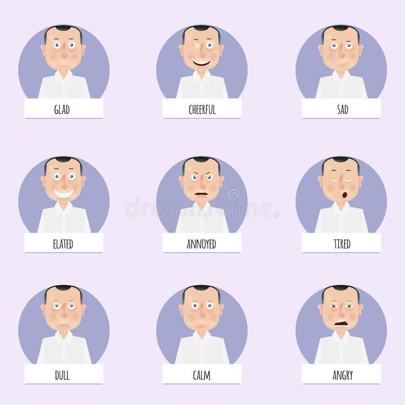 Nueve caras de las emociones de la historieta para los caracteres del vector ilustración del vector