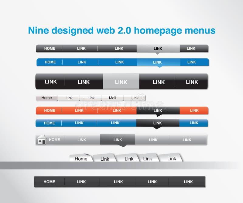 Nueve diseñaron Web 2.0 menús del homepage ilustración del vector