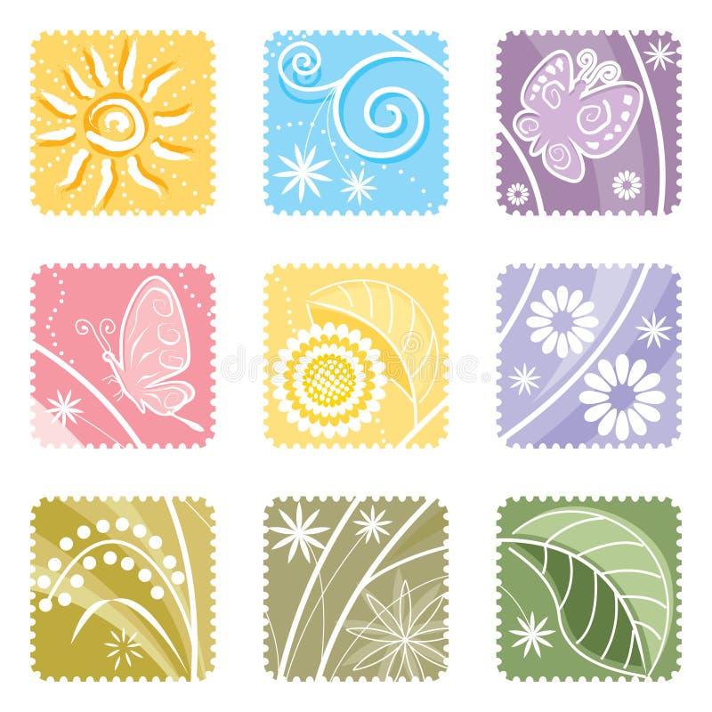 Nueve en una escritura de la etiqueta floral stock de ilustración