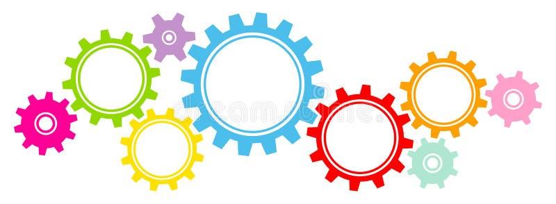 Nueve grandes y la pequeña frontera gráfica de los engranajes colorea horizontal stock de ilustración