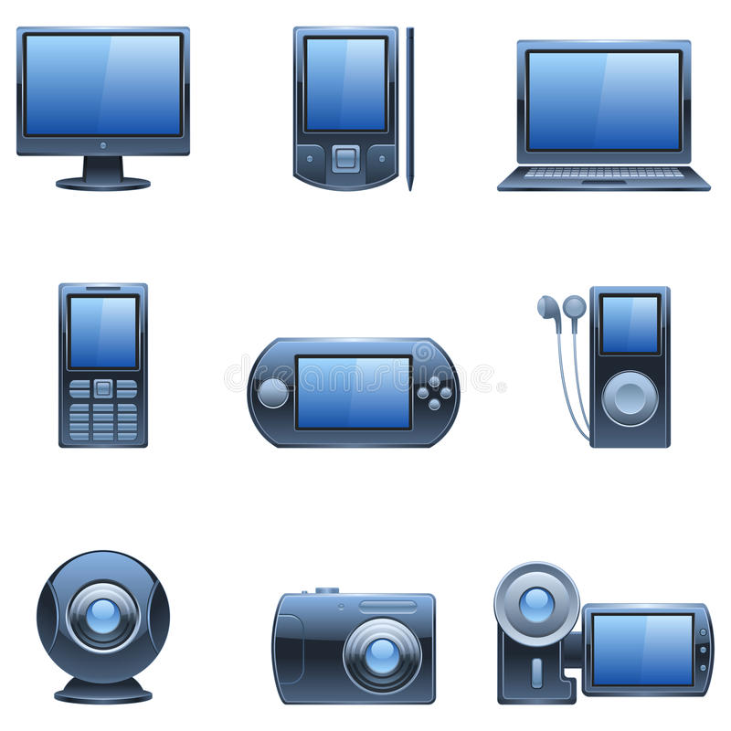 Nueve iconos azul marino del ordenador y de los media. libre illustration