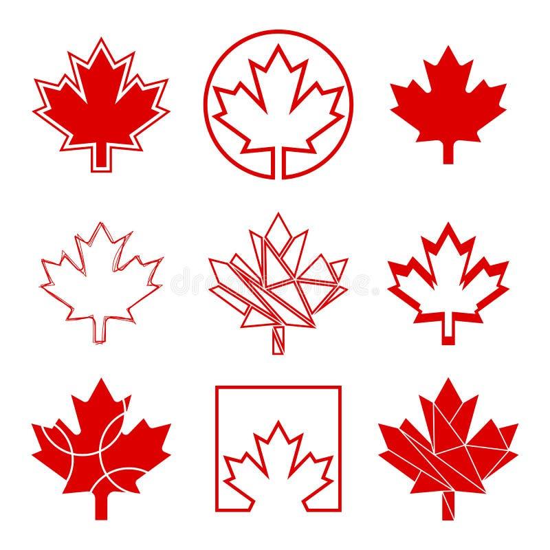 Nueve iconos canadienses de la hoja de arce ilustración del vector