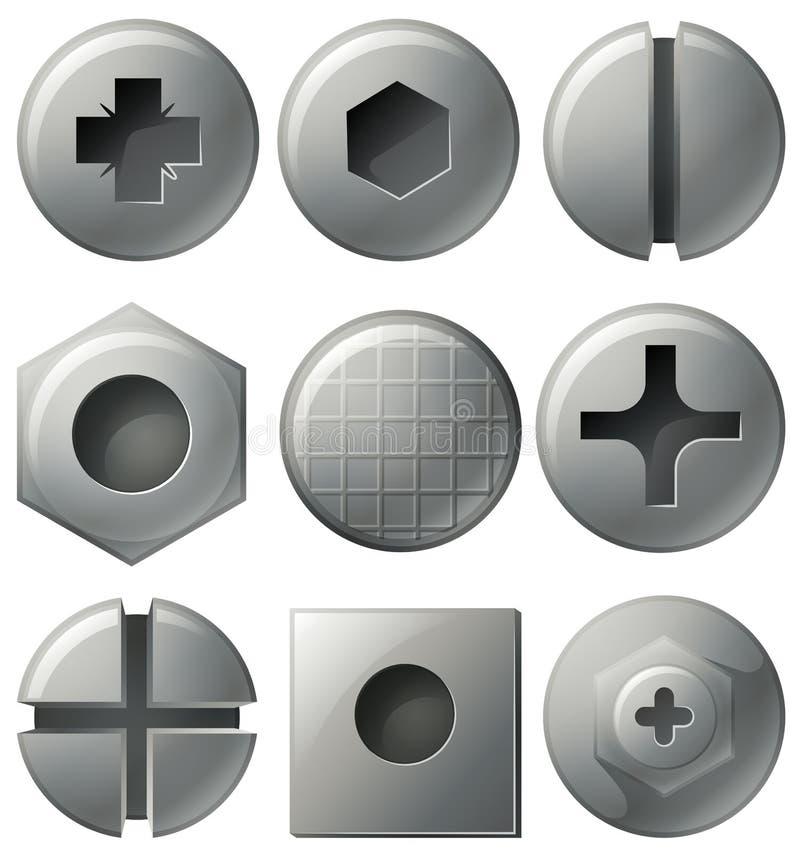 Nueve nailheads con diversos diseños en el top libre illustration