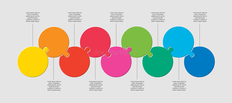 Nueve piezas de puzzle círculos línea info gráfico stock de ilustración