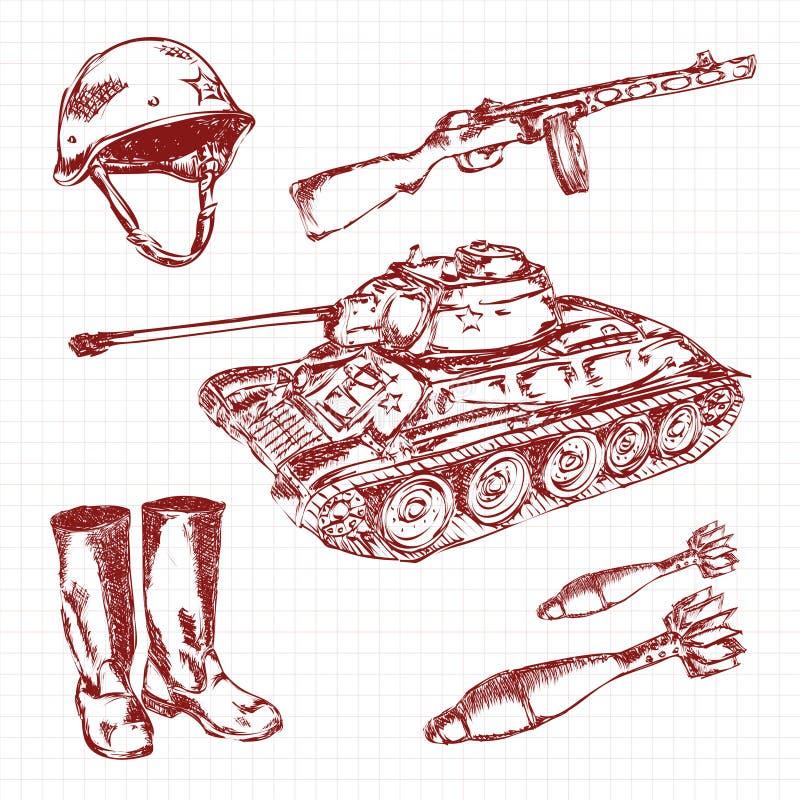 9 nueve pueden y 23 de febrero Día de la victoria Bosquejo del vector del dibujo de la mano en la hoja del cuaderno stock de ilustración