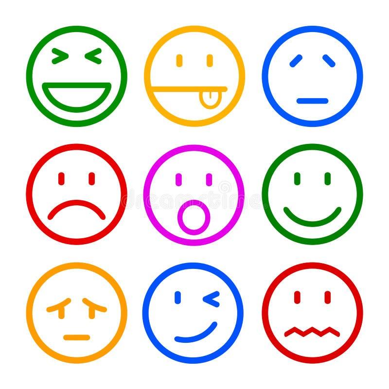 Nueve smilies, fijaron la emoción sonriente, por los smilies, los emoticons de la historieta stock de ilustración