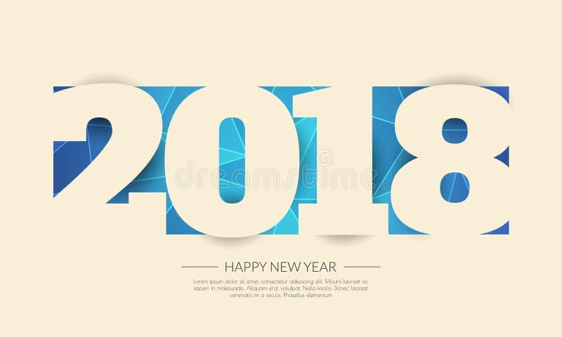 Nuevo 2018 años feliz Tarjeta de felicitaciones Diseño colorido Vector la enfermedad stock de ilustración