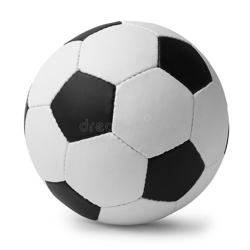 Nuevo balón de fútbol en el fondo blanco fotos de archivo libres de regalías