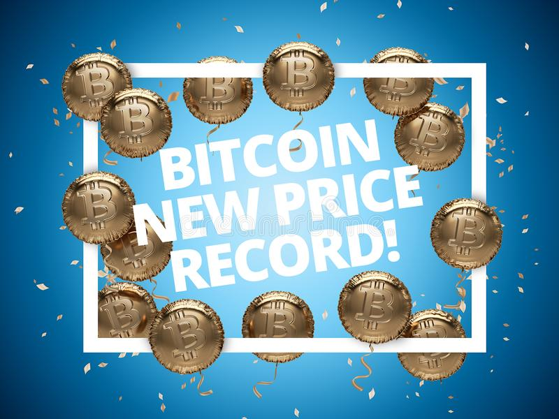 Nuevo cartel de la celebración del expediente del precio de Bitcoin Globos brillantes con los logotipos de Bitcoin alrededor del  ilustración del vector