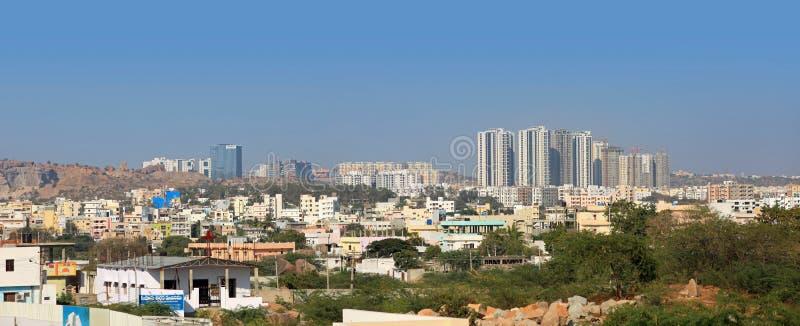 Nuevo centro de la ciudad en Hyderabad la India fotos de archivo