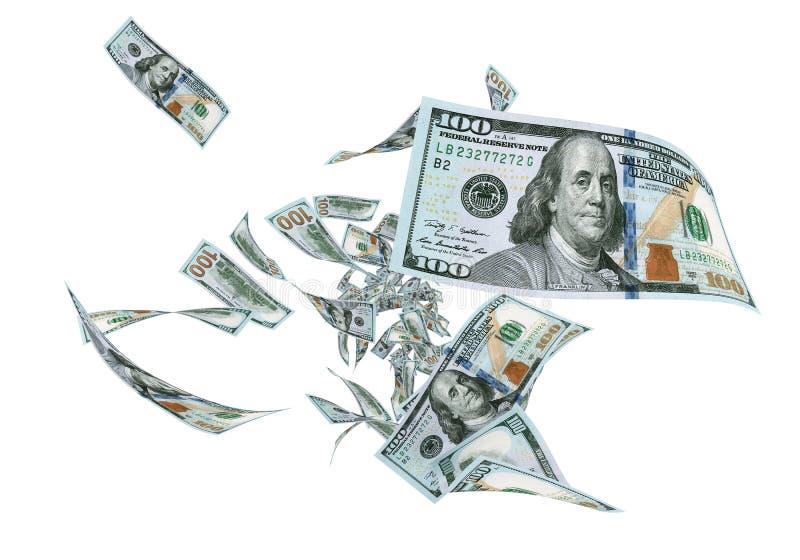Nuevo cientos billetes de banco del dólar de la mosca stock de ilustración