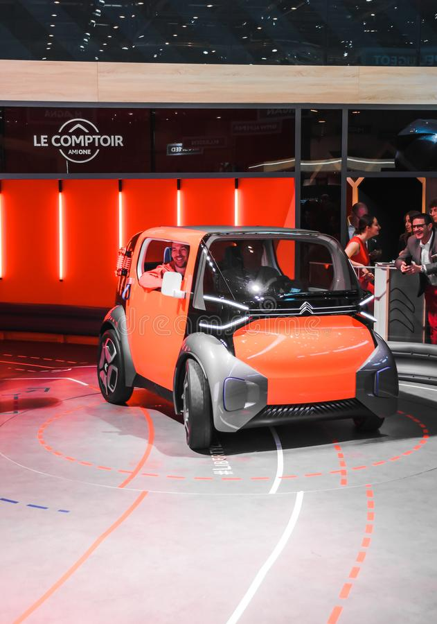 Nuevo coche eléctrico Citroen Centro de exposición en Ginebra en 2019 fotos de archivo