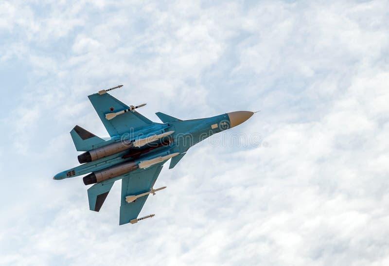 Nuevo combatiente ruso Sukhoi Su-34 de la huelga imagen de archivo