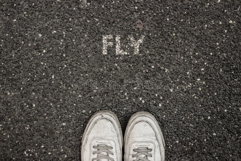 Nuevo concepto de la vida, lema de motivación con la MOSCA de la palabra por motivo del asfalto foto de archivo