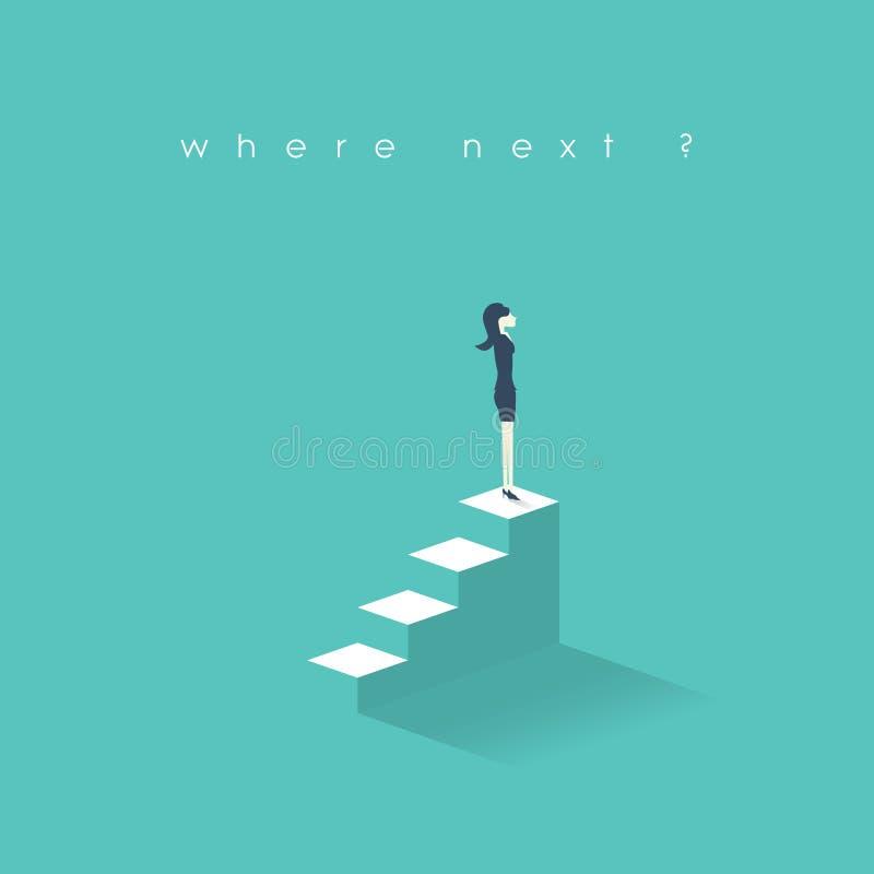 Nuevo concepto de las oportunidades de la empresaria Crecimiento de la carrera de las mujeres de negocios en escalera corporativa stock de ilustración