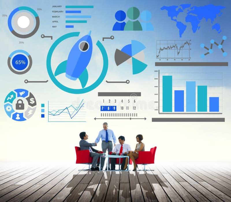 Nuevo concepto del negocio global del trabajo en equipo de la innovación de la carta de negocio imagen de archivo