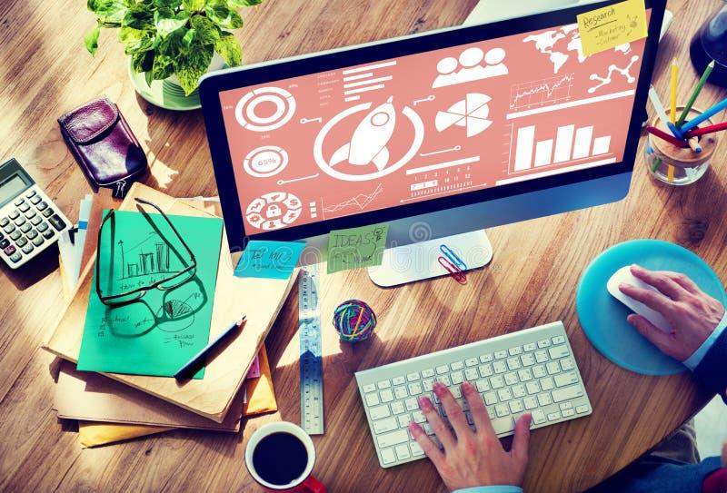 Nuevo concepto del negocio global del trabajo en equipo de la innovación de la carta de negocio fotos de archivo