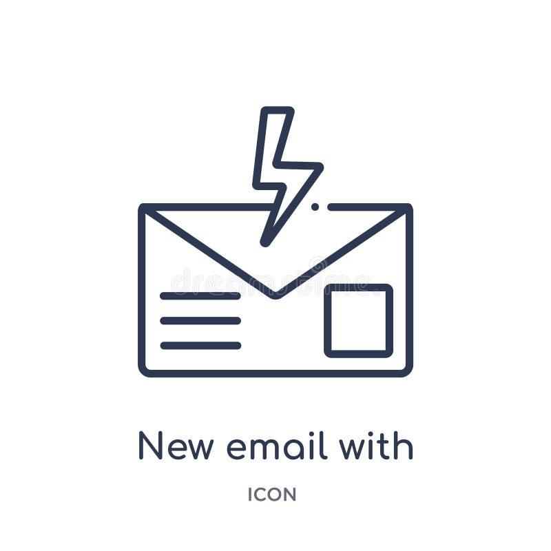 nuevo correo electrónico con el icono del relámpago de la colección del esquema de la interfaz de usuario Línea fina nuevo correo libre illustration