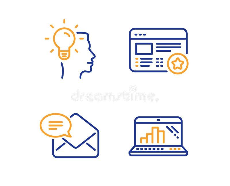 Nuevo correo, idea y sistema preferido de los iconos Muestra del ordenador port?til del gr?fico Email recibido, trabajo profesion stock de ilustración