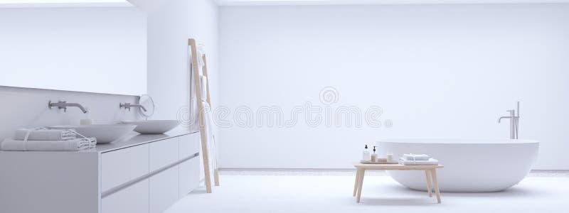 Nuevo cuarto de baño moderno del zen con la pared blanca representación 3d stock de ilustración