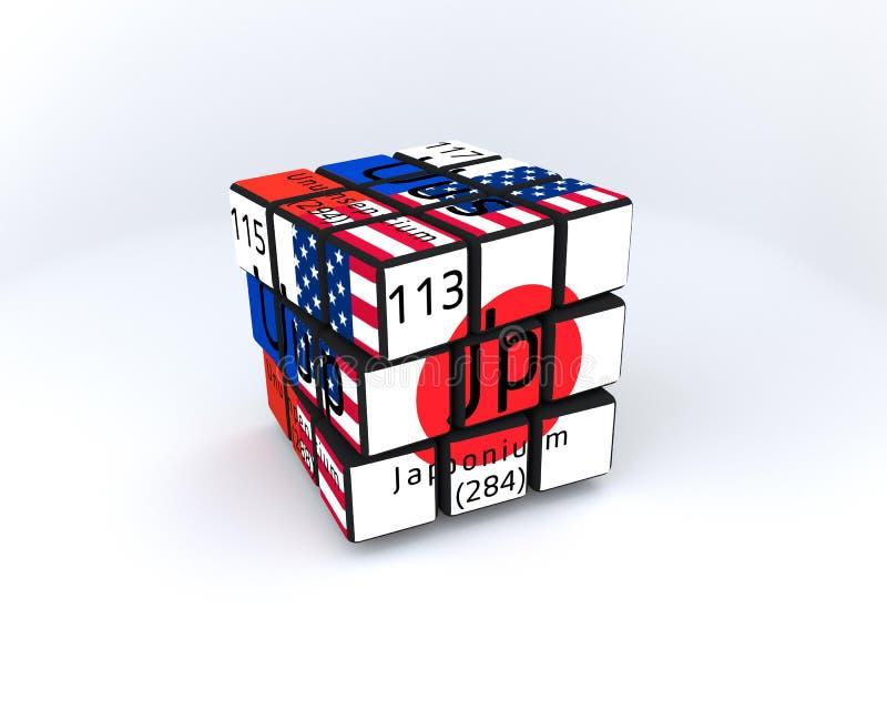Nuevo cubo de Rubix de los elementos libre illustration