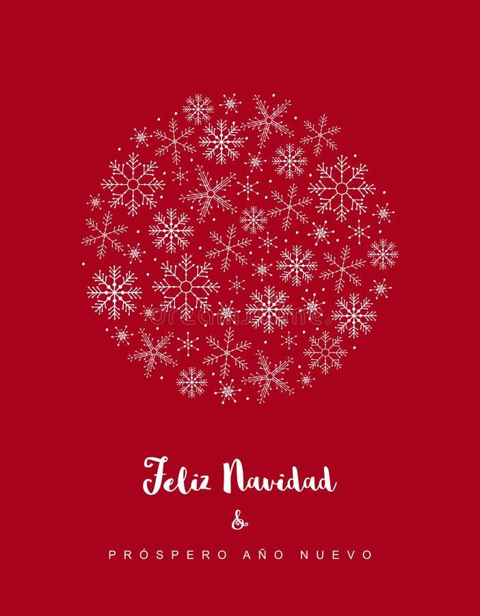 Nuevo d'ano de Prospero du navidad y de Feliz - Joyeux Noël et bonne année Carte rouge de vecteur espagnol de Noël illustration stock