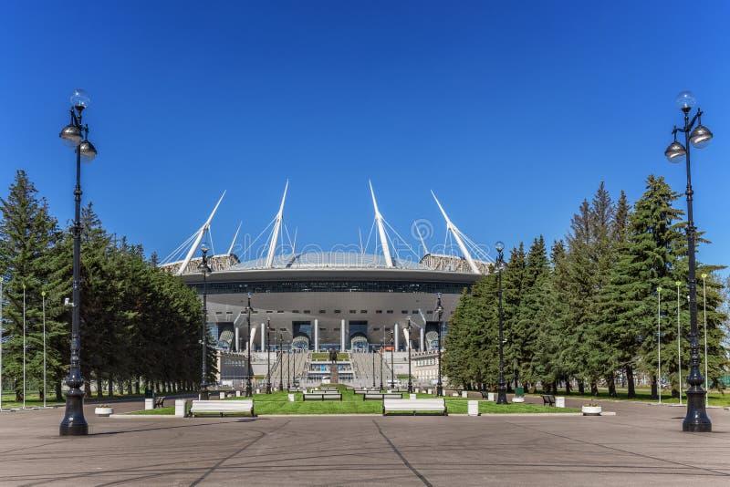 Nuevo ` de la arena de St Petersburg del ` del fútbol en la isla de Krestovsky en St Petersburg para el mundial 2018 imágenes de archivo libres de regalías