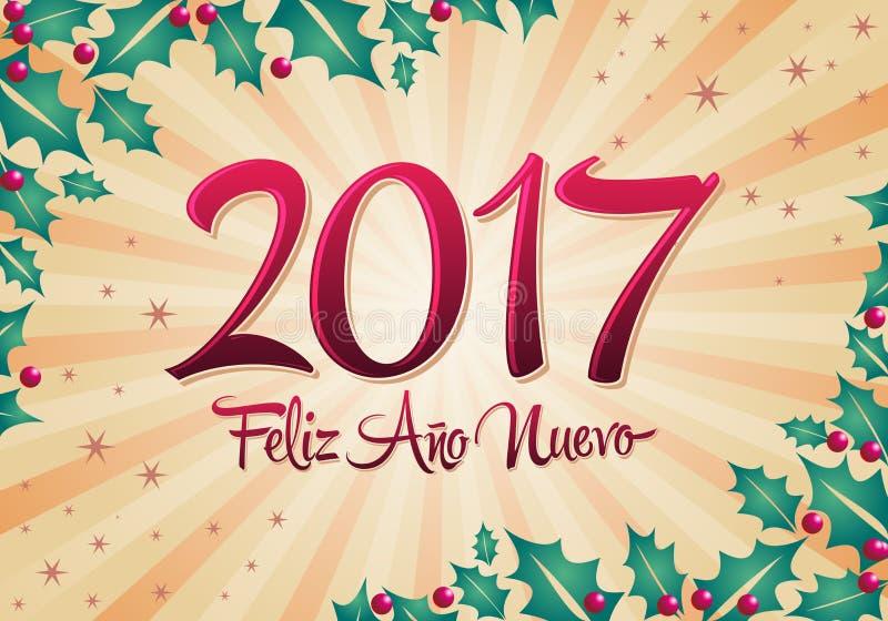 2017 nuevo di Feliz Ano - iscrizione spagnola di vettore del testo da 2017 buoni anni con il fondo di festa illustrazione vettoriale