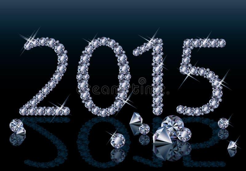Nuevo diamante tarjeta de 2015 años ilustración del vector