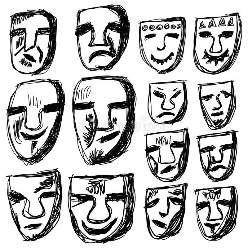 Abstract hand-drawn faces with old-style characters, smile, sadness, fury, happy, vector. Abstract stock illustration