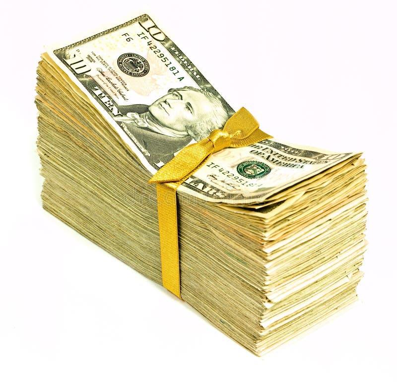 Nuevo dinero en circulación de Estados Unidos - diez foto de archivo