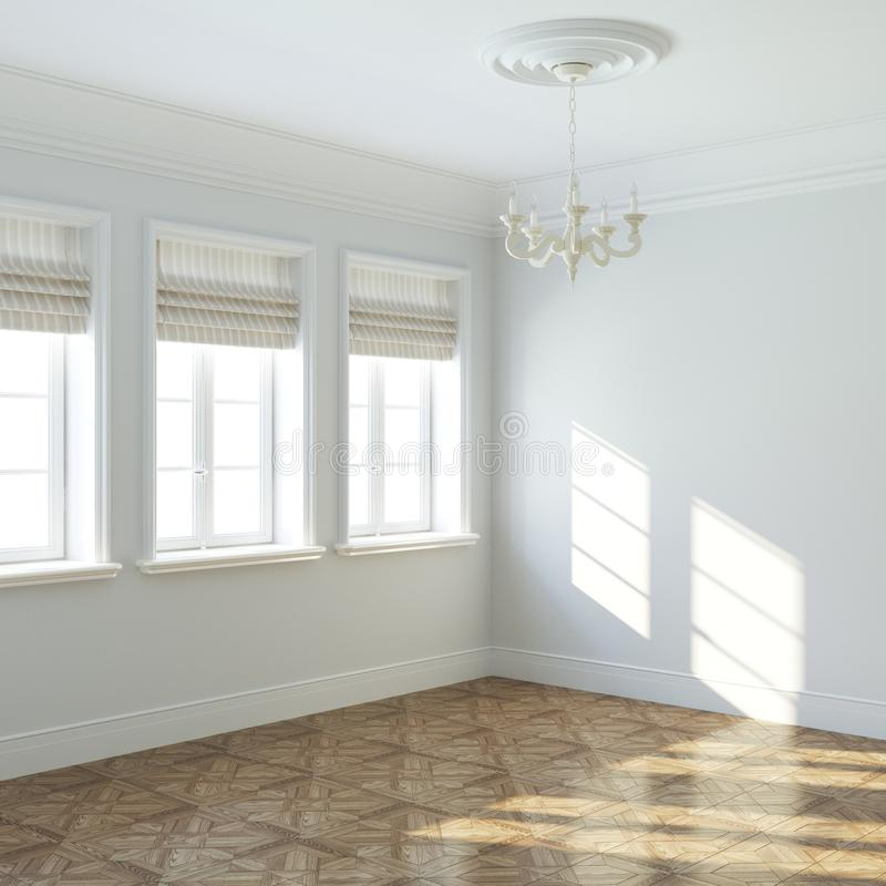 Nuevo diseño interior vacío grande con la lámpara y las ventanas retras ilustración del vector
