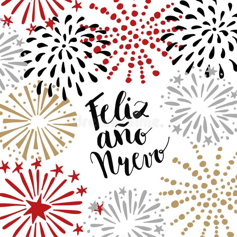 Nuevo do ano de Feliz, cartão espanhol do ano novo feliz com texto escrito à mão e fogos-de-artifício tirados mão, estrelas Ilust ilustração stock