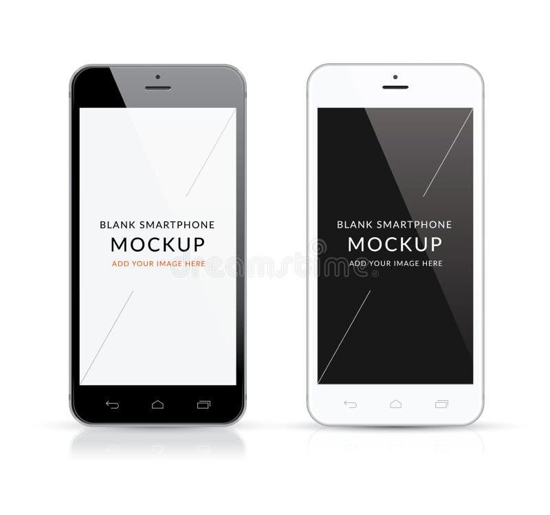 Nuevo ejemplo moderno blanco y negro del vector de la maqueta del smartphone stock de ilustración
