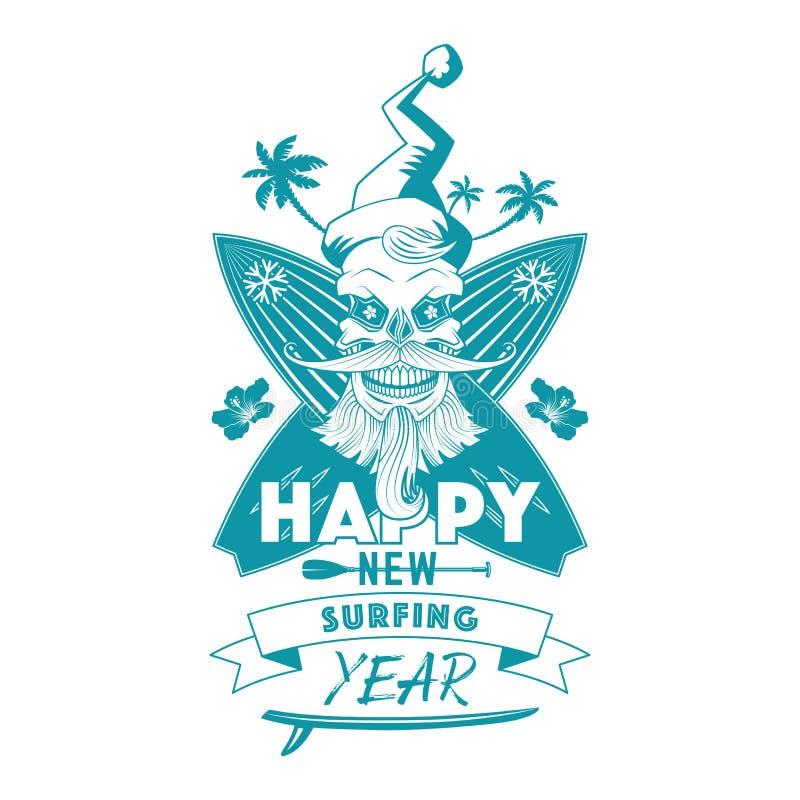 Nuevo emblema monocromático feliz del año que practica surf foto de archivo libre de regalías