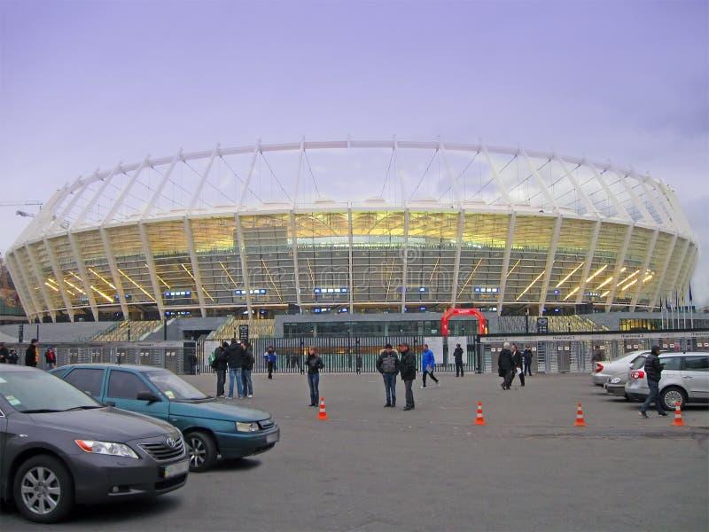 Nuevo estadio del deporte en Kiev, construcción del balompié fotografía de archivo