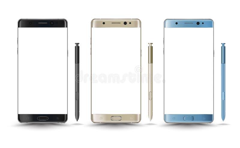 Nuevo estilo perfectamente detallado de la nota 7 de la galaxia de los smartphones stock de ilustración