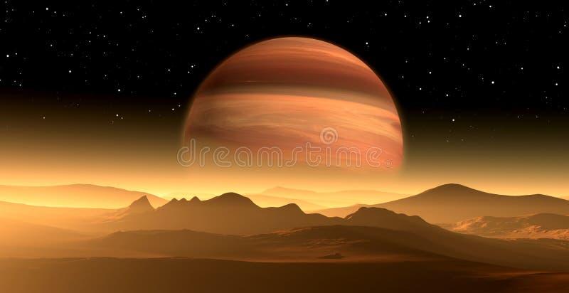 Nuevo Exoplanet o planeta Extrasolar del gigante de gas similar a Júpiter con la luna ilustración del vector