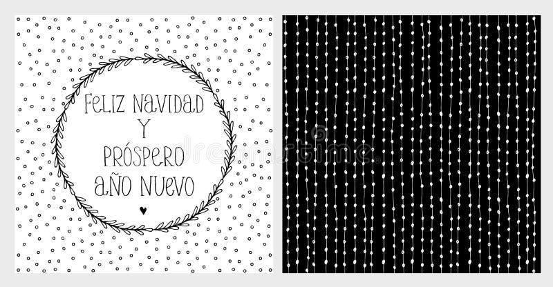 Nuevo för ano för prospero för Feliz navidad y - glad jul och lyckligt nytt år Spansk julvektorsvart en WhiteCard och en modell stock illustrationer